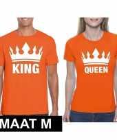 Feest koningsdag koppel king queen t-shirt oranje maat m