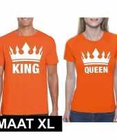 Feest koningsdag koppel king queen t-shirt oranje maat xl