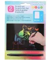Feest kras tekening krasfolie regenboog kleuren honden