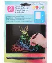 Feest kras tekening krasfolie regenboog kleuren konijnen