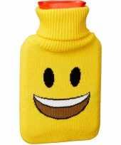 Feest kruik met gele hoes lachende smiley 1 liter