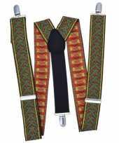 Feest kruispatroon bretels groen met rood