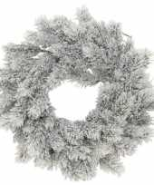 Feest kunst kerstkrans groen sneeuw 35 cm