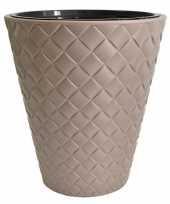Feest kunststof bloempot makata taupe 30 cm