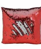 Feest kussen rood metallic met pailletten 40 x 40 cm