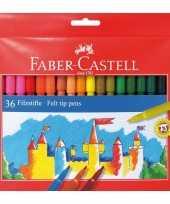 Feest kwaliteit viltstiften gekleurd 36 stuks