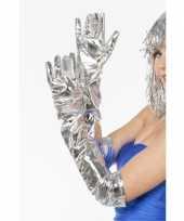 Feest lange gala handschoenen zilver
