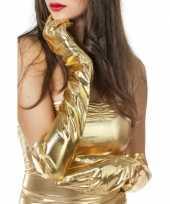 Feest lange glimmende handschoenen goud