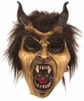 Feest latex horror masker duivel goud