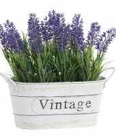Feest lavendel kunstplant kamerplant in metalen emmer wit 20 cm