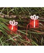 Feest lichtsnoeren met rode cadeautjes inclusief timer op batterijen 230 cm