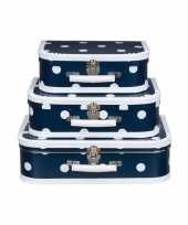 Feest logeerkoffer navy wit 25 cm