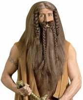 Feest luxe barbaar pruik met baard en snor
