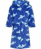 Feest luxe fleece badjas met haaien motief voor kinderen