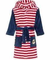 Feest luxe fleece rood witte badjas met streepjes motief voor kinderen