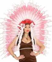 Feest luxe hoofdband met roze veren
