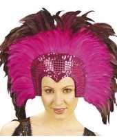 Feest luxe hoofdtooi fuchsia roze met veren voor volwassenen