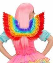 Feest luxe regenboog veren vleugels 52 x 40 cm