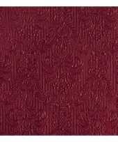 Feest luxe servetten barok patroon bordeaux rood 3 laags 15 stuks