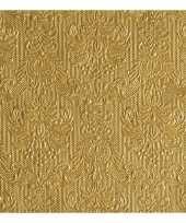 Feest luxe servetten barok patroon goud 3 laags 15 stuks