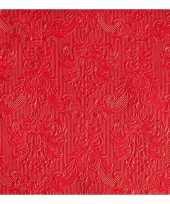 Feest luxe servetten barok patroon rood 3 laags 15 stuks
