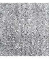 Feest luxe servetten barok patroon zilver 3 laags 15 stuks