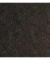Feest luxe servetten barok patroon zwart 3 laags 15 stuks