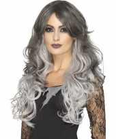 Feest luxe tweekleurige grijze damespruik lang haar
