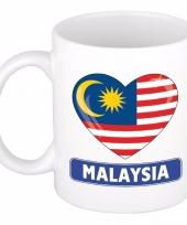 Feest maleisische vlag hartje theebeker 300 ml