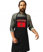 Feest marokko vlag barbecueschort keukenschort zwart volwassenen