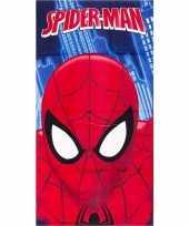 Feest marvel spiderman gezicht badlaken strandlaken blauw 70 x 140 cm