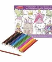 Feest meisjes prinsessenboek met kleurpotloden set