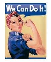Feest metalen decoratie plaat we can do it feminisme