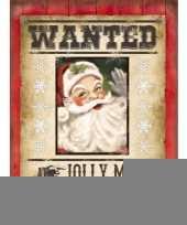 Feest metalen funplaten wanted kerstman