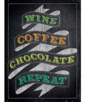 Feest metalen kroegbordje wine coffee chocolate repeat 15 x 20