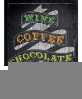 Feest metalen kroegbordje wine coffee chocolate repeat 30 x 40