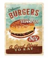 Feest metalen muurplaat van een hamburger alkmaar