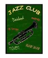 Feest metalen muurplaatje jazz club 30 x 40 cm
