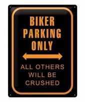 Feest metalen plaat voor aan de muur bikers parking only 30 x 40 cm