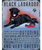 Feest metalen plaat zwarte labrador