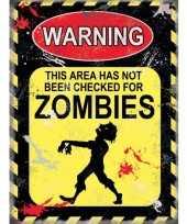 Feest metalen plaatje zombies voor op kantoor