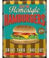 Feest metalen platen hamburgers