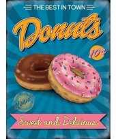 Feest metalen reclamebord donuts voor in de snackbar