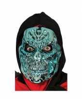 Feest metallic blauwe horror skelet masker