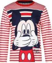 Feest mickey mouse t-shirt rood wit voor jongens
