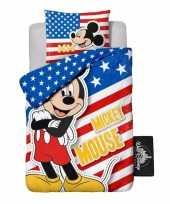 Feest mickey mouse usa dekbedovertrek jongens 140 x 200 cm