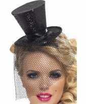 Feest mini hoedje zwart op haarband 10099101