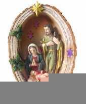 Feest mini kerststal met led licht 15 cm