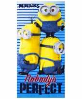 Feest minions nobody is perfect badlaken 70 x 140 cm