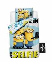 Feest minions selfie dekbedovertrek kinderen 140 x 200 cm